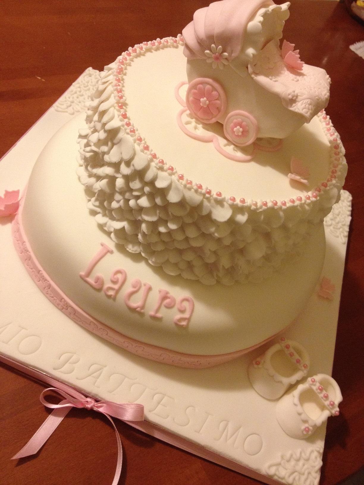 Torta con carrozzina per un battesimo paola e le torte - Decorazioni per battesimo bimba ...