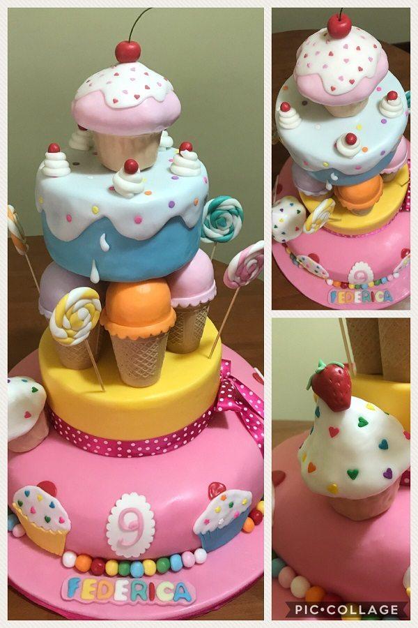 Torta con cupcakes e gelati
